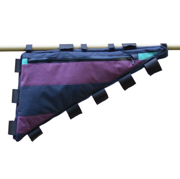 Sacoche de cadre vélo sur-mesure violet et bleu marine