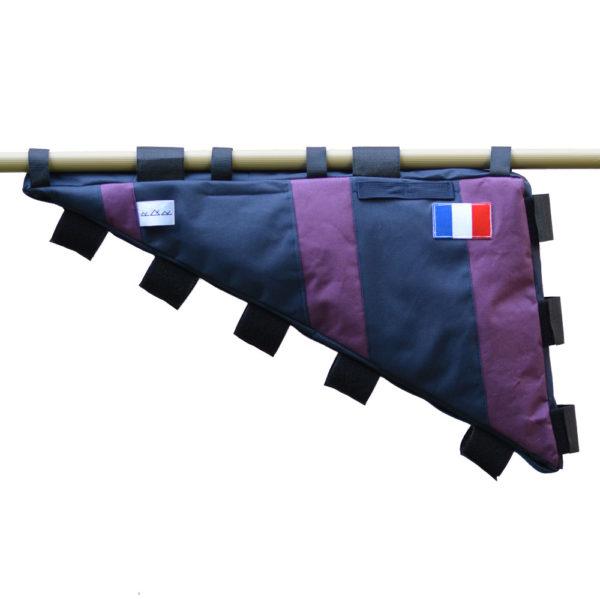 Sacoche de cadre vélo sur-mesure violet et bleu marine avec drapeau