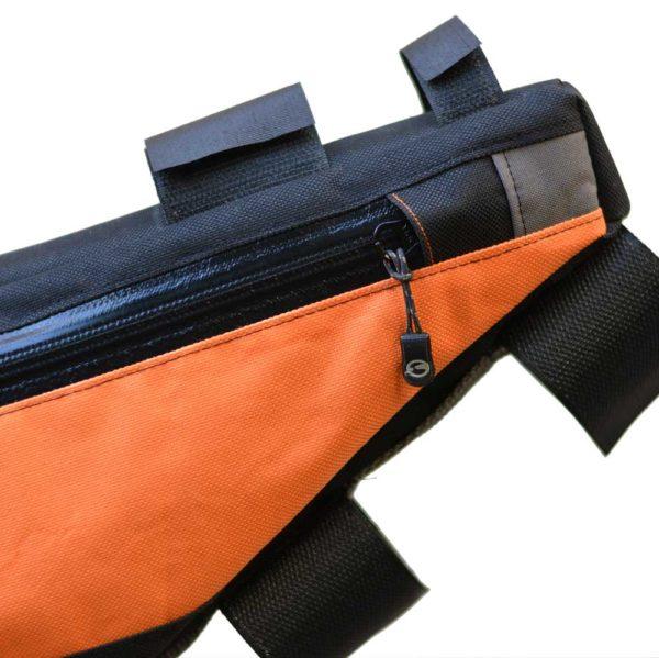 Sacoche vélo cadre orange noir fermeture imperméable