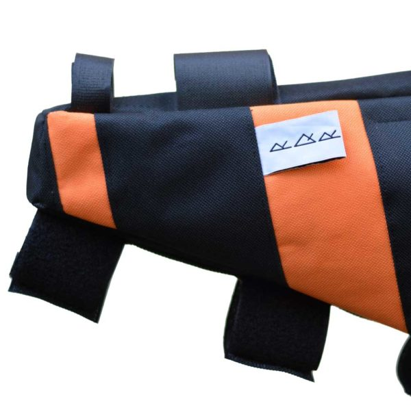 Sacoche vélo cadre orange noir made in France