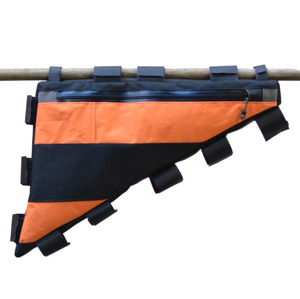 Sacoche vélo cadre orange et noir artisanale