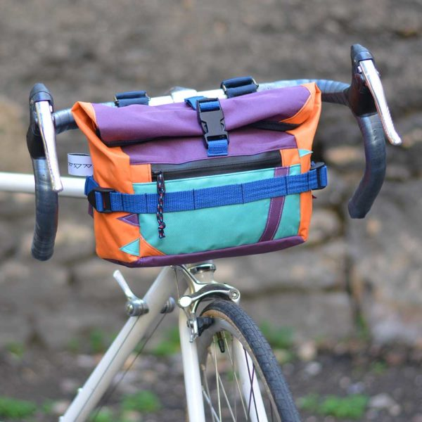 Sacoche vélo guidon orange, violet, bleu, turquoise
