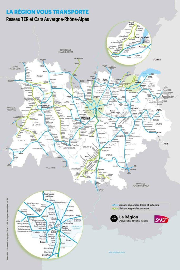 ter rhone alpes carte Carte des lignes de trains autour de Lyon   Le Rouquin qui roule