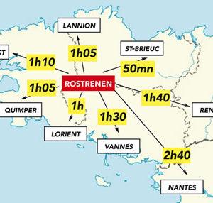Carte géographie Rostrenen en Centre Bretagne